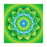 Circle  Bright Green Mandlala Of Anahata Chakra