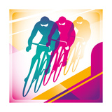 Illustrated Bicycle Driving In Color