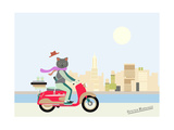 Fashionable Hipster Cat On A Vintage Scooter In A City- Illustration
