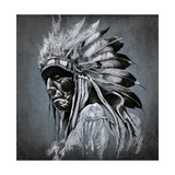 Tattoo Art  Portrait Of American Indian Head Over Dark Background