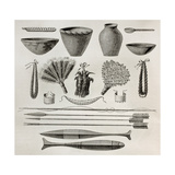 Old Illustration Of Natives Antis Pottery  Weapons And Ornaments  Peru
