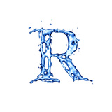 Blue Liquid Water Alphabet With Splashes And Drops - Letter R