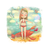 Zodiac Sign - Cancer Part Of A Large Colorful Cartoon Calendar Cute Girl Near The Summer Sea