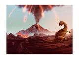 Dinosaur Extinction - Erupting Volcano Artwork