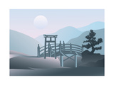 Magic Asian Landscape With Small Bridge