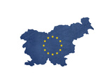 European Flag Map Of Slovenia Isolated On White Background