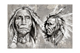 Native American Indian Head  Chiefs  Retro Style
