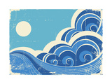 Abstract Sea Waves Grunge Illustration Of Sea Landscape