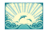 Blue Dolphins Jumping In Sea In Summer Day