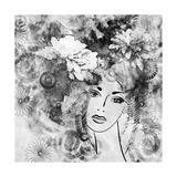Art Sketched Beautiful Girl Face With Flowers In Hair In Black Graphic On White Background