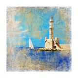 Light House With Yacht- Artistic Painting Style Picture