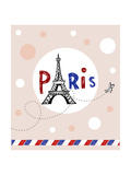 Eiffel Tower In Paris  Post Card In Doodle Style