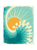 Wave In OceanWater Nature Background With SunVintage