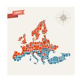 Europe Geometric Figures Map Illustration