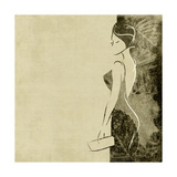 Art Autumn Background With Beautiful Young Woman In Party Black Dress With Clutch Bag In Sepia