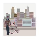 Retro New York Illustration - Vintage Bird On A Bike
