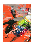 Red Abstract Painting With Expressive Brush Strokes