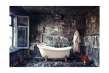 Vintage Bathtub in Grunge Interior