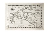 Old Map Of Capuchins Province Of Palermo  Sicily The Map May Be Dated To The 17Th C