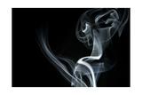 White Smoke Rising On Black Background