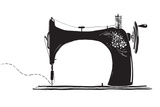 Vintage Sewing Machine Inky Illustration