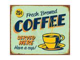 Vintage Metal Sign - Fresh Brewed Coffee - Jpg Version