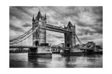 Tower Bridge In London  The Uk Black And White  Artistic Vintage  Retro Style