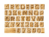 Wooden Alphabet Blocks With Letters And Numbers Reproduction d'art par Donatas1205
