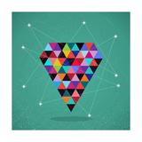 Retro Hipsters Trendy Triangle Diamond Illustration Reproduction d'art par Cienpies