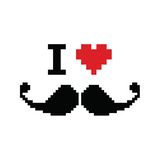 I Love Mustache Pixelated  Retro Geeky Sign