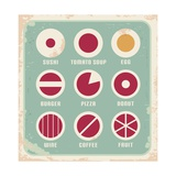 Retro Set Of Food Pictogram  Icons And Symbols