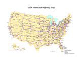 Usa With Interstate Highways  States And Names