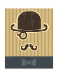 Gentlement With Mustache And Hat On Vintage Card Background