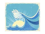 Sea Big Wave Vintage Old Illustration Of Sea Landscape