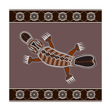 A Illustration Based On Aboriginal Style Of Dot Painting Depicting Platypus