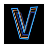Glowing Letter V Isolated On Black Background