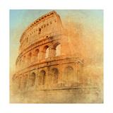 Great Antique Rome - Coloseum   Artwork In Retro Style