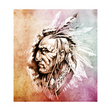 Sketch Of Tattoo Art  American Indian Chief Illustration Over Colorful Paper