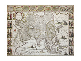 Asia Old Map Created By Willem Bleau  Published In Amsterdam  Ca 1650