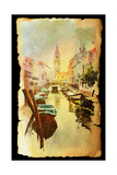 A View Of The Canal With Boats And Buildings In Venice  Painted By Watercolor
