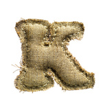 Linen Vintage Cloth Letter K Isolated On White