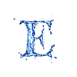 Blue Liquid Water Alphabet With Splashes And Drops - Letter E