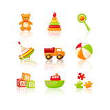 Colourful Children'S Toys Icons