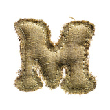 Linen Vintage Cloth Letter M Isolated On White