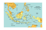 Indonesia With Administrative Districts And Surrounding Countries