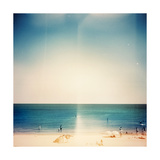 Retro Medium Format Photo Sunny Day On The Beach Grain  Blur Added As Vintage Effect