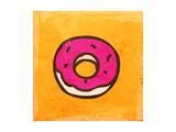 Cartoon Donut Cute Hand Drawn  Vintage Paper Texture