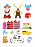 Collection Of Netherlands Icons Reproduction d'art par Marish