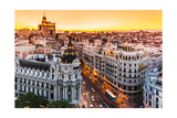 Panoramic View Of Gran Via  Madrid  Spain