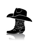 Cowboy Boot And Western HatBlack Graphic Image On White